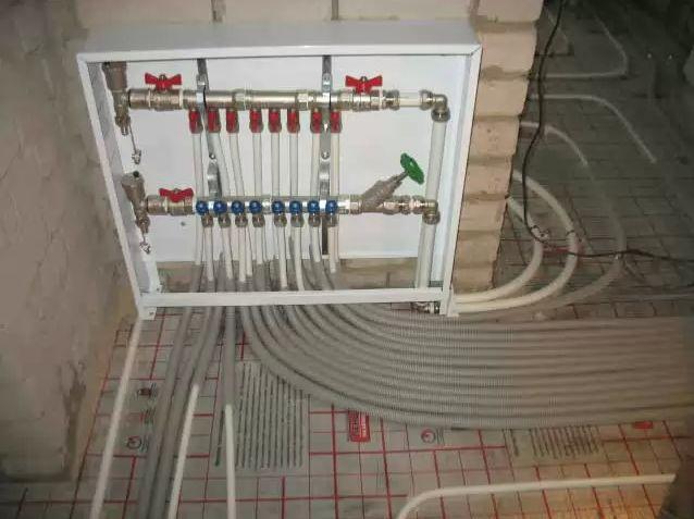 Распределительный коллектор с трубопроводами для системы «теплый пол»