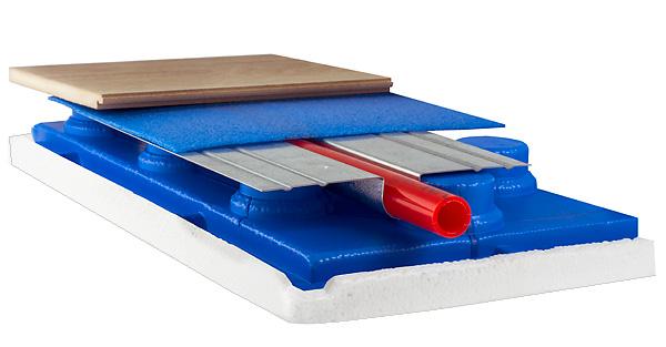 Установка труб теплого пола на монтажные панели с использованием теплоотражающих пластин