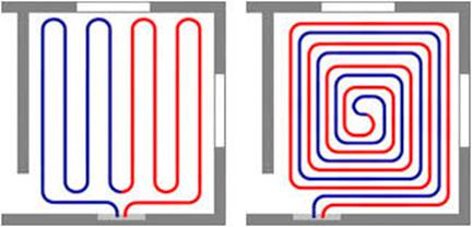 Схемы укладки труб для водяного пола